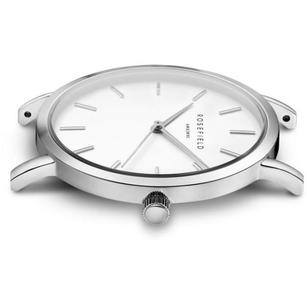 Montre Rosefield bracelet milanais gris fond blanc pour femme