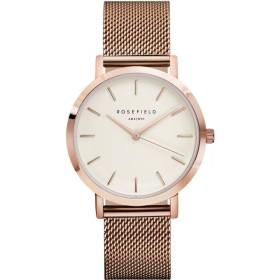 Montre Rosefield bracelet milanais doré rose fond blanc pour femme