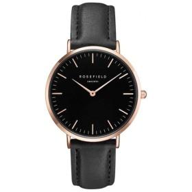 Montre Rosefield bracelet cuir noir avec boitier doré rose