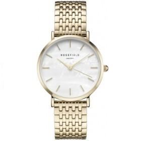 Montre Rosefield bracelet et boitier en acier doré et fond blanc pour femme