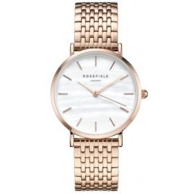 Montre Rosefield bracelet et boitier en acier rose doré fond blanc pour femme