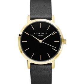 Montre Rosefield bracelet en cuir noir fond noir et boitier doré