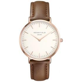 Montre Rosefield bracelet en cuir marron fond blanc et boitier doré rose