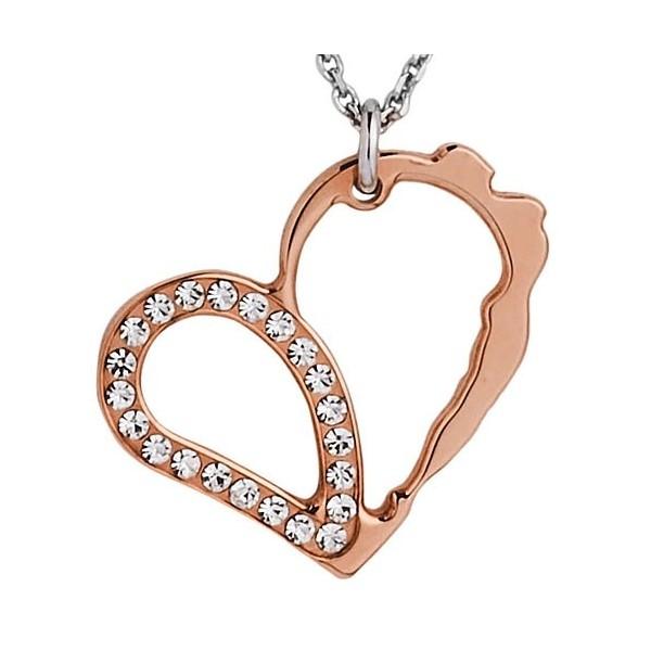 Collier argent pendentif coeur rose gold incrusté de pierres pour femmes Jourdan