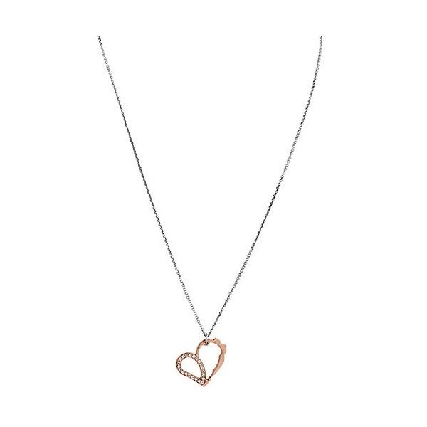 Collier argent pendentif coeur rose gold incrusté de petites pierres pour femmes Jourdan