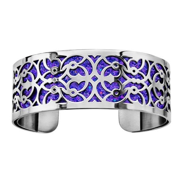 Bracelet en acier de type manchette avec motifs scintillants bleus