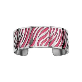 Bracelet en acier de type manchette avec motifs zèbre fuchsia