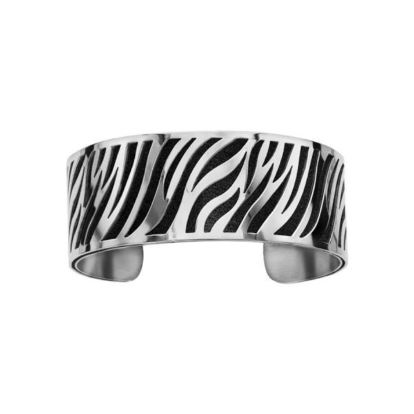 Bracelet en acier de type manchette avec motifs noir