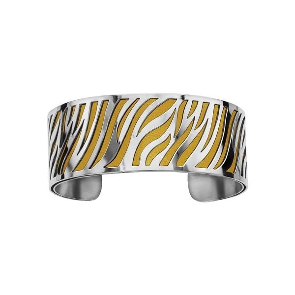 Bracelet en acier de type manchette avec motifs jaune moutarde