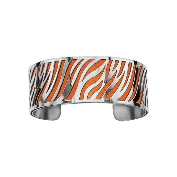 Bracelet en acier de type manchette avec motifs orange