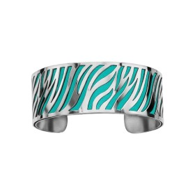 Bracelet en acier de type manchette avec motifs turquoise
