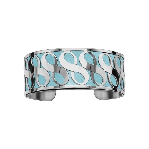 Bracelet en acier de type manchette avec motifs bleu ciel