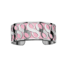 Bracelet en acier de type manchette avec motifs infini rose