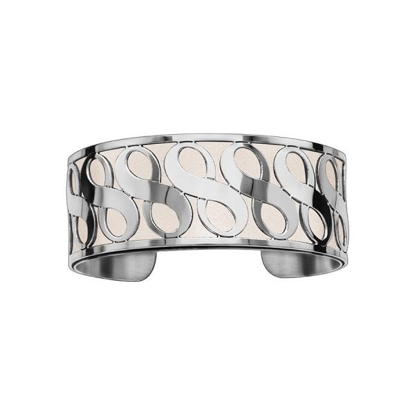 Bracelet en acier de type manchette avec motifs infini blanc