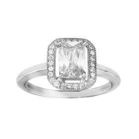 BAGUE ARGENT RHODIE PAVE OXYDE BLANC SERTI AVEC OXYDES MICRO SERTIS