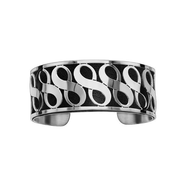 Bracelet en acier de type manchette avec motifs infini noir