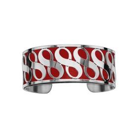 Bracelet en acier de type manchette avec motifs infini rouge