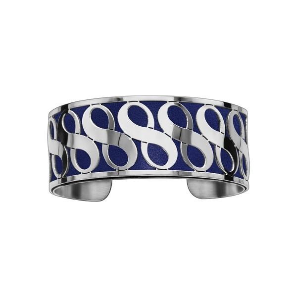 Bracelet en acier de type manchette avec motifs infini bleu marine