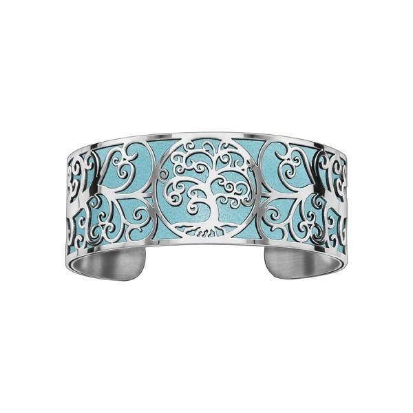 Bracelet en acier de type manchette avec motifs arbre de vie bleu ciel