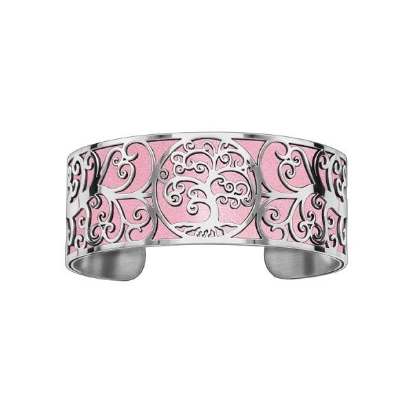 Bracelet en acier de type manchette avec motifs arbre de vie rose