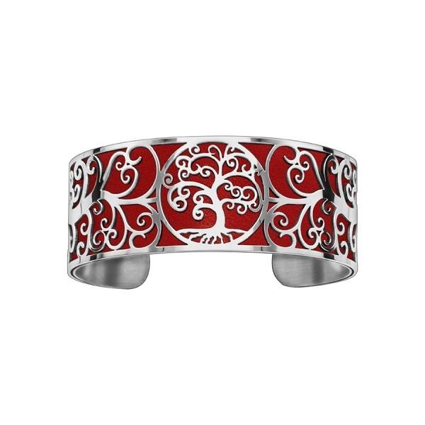 Bracelet en acier de type manchette avec motifs arbre de vie rouge