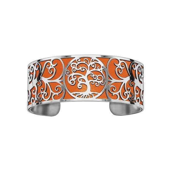 Bracelet en acier de type manchette avec motifs arbre de vie orange