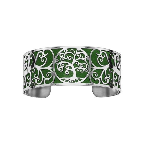 Bracelet en acier de type manchette avec motifs arbre de vie vert