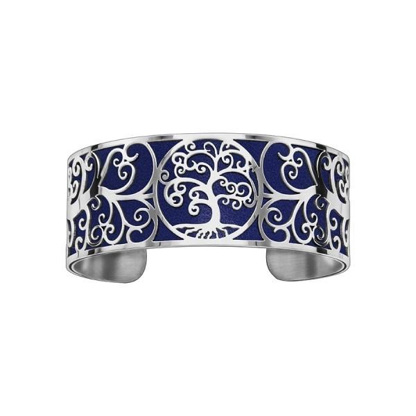 Bracelet en acier de type manchette avec motifs arbre de vie bleu marine