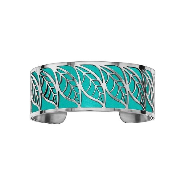 Bracelet en acier de type manchette avec motifs feuille turquoise