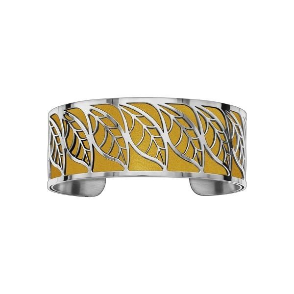 Bracelet en acier de type manchette avec motifs feuille orange