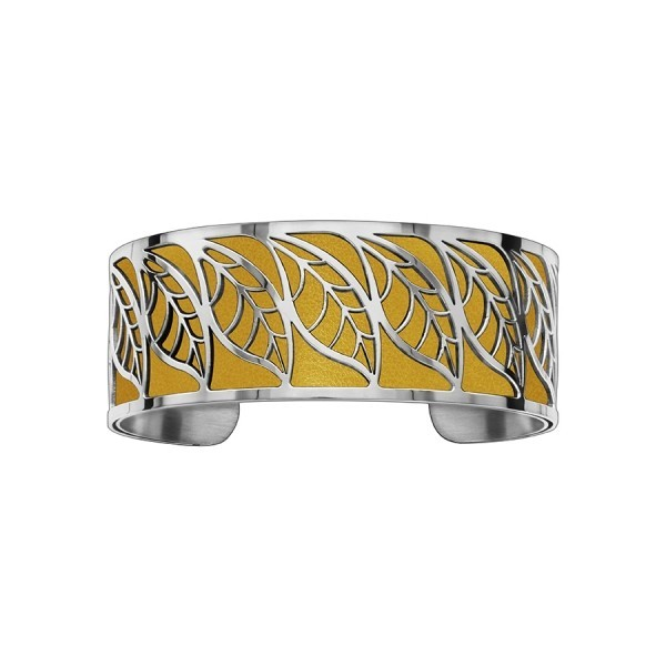 Bracelet en acier de type manchette avec motifs feuille moutarde
