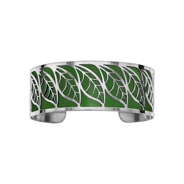 Bracelet en acier de type manchette avec motifs feuille vert