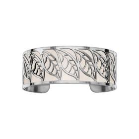 Bracelet en acier de type manchette avec motifs feuille blanc