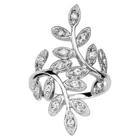 BAGUE ARGENT RHODIE 2 BRANCHES FEUILLAGE OXYDES BLANCS