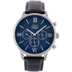Montre Cerruti 1881 Denno en cuir bleue Homme