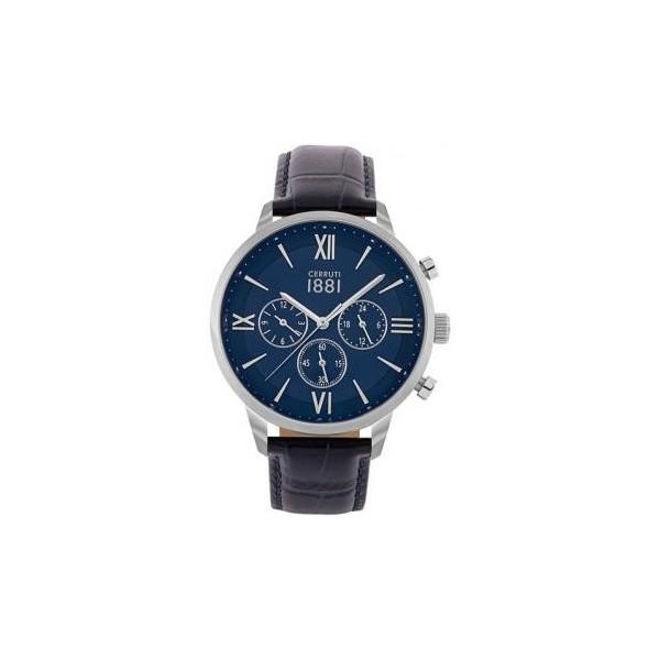 Montre Cerruti homme avec bracelet en cuir bleu et cadran bleu.