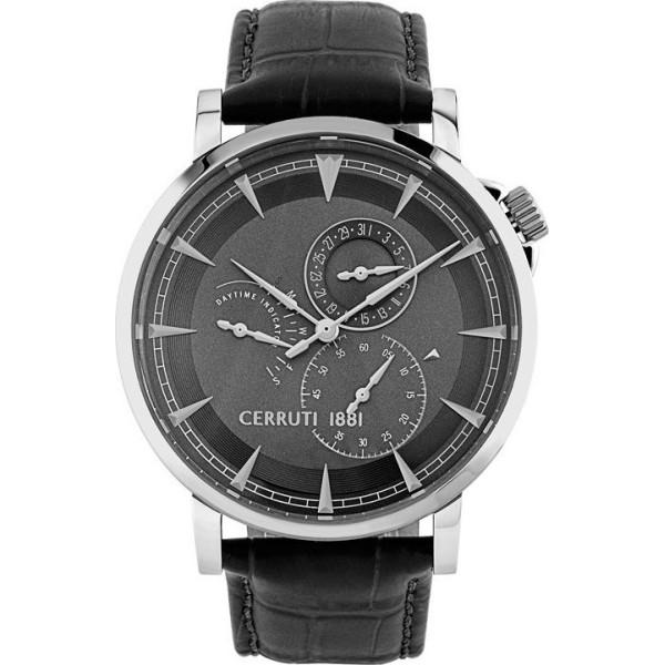 Montre Cerruti homme avec bracelet en cuir noir et cadran noir.