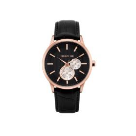 Montre Cerruti 1881 en cuir noire et rose gold Homme