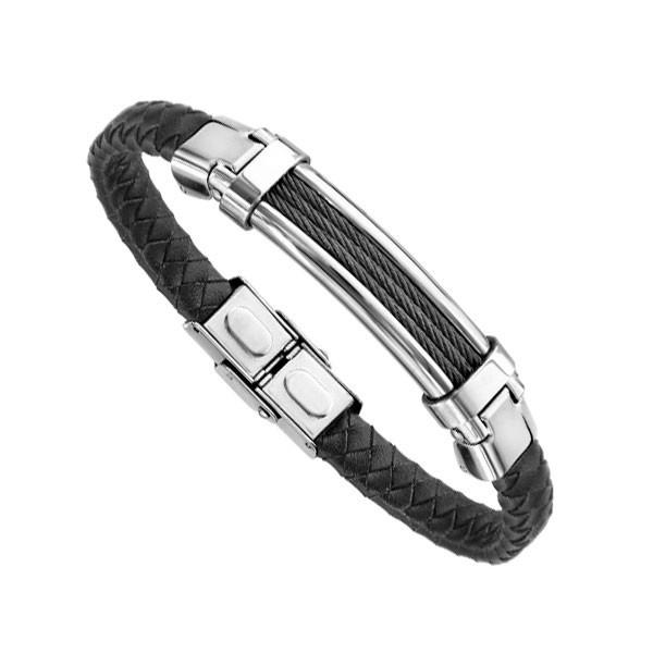Bracelet Acier Homme - Cuir Noir Tressé & Acier avec cable noir