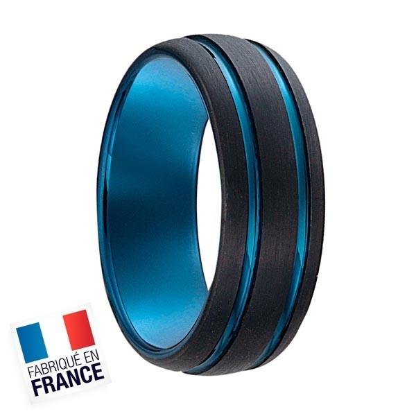 Bague Jourdan Hommes - Acier bleu et plaqué noir