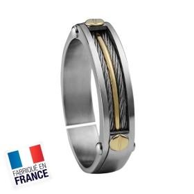 Bague Jourdan Hommes - Acier, Or 750 & câbles FZ 011 H