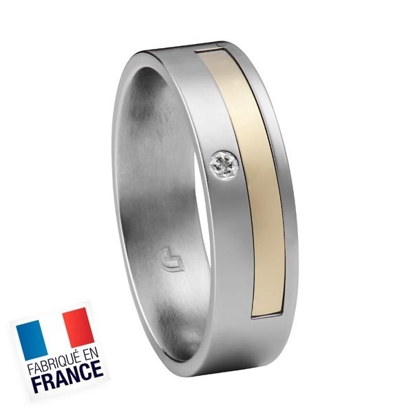 Bague Jourdan Hommes - Acier, Or 750 & Diamant DK 308 H