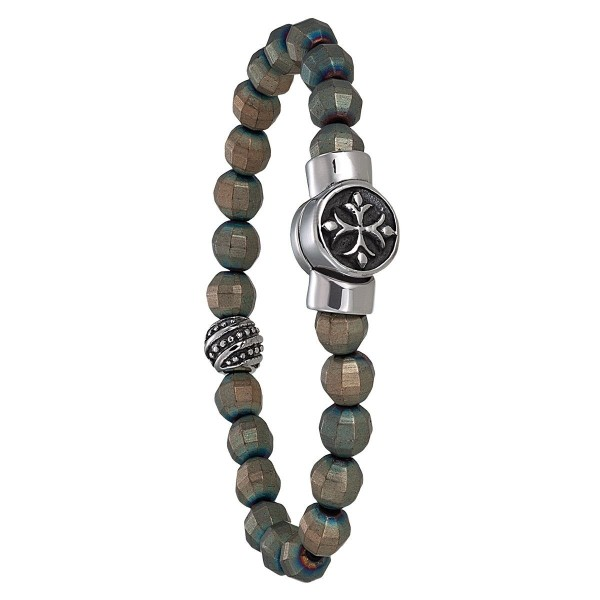 Bracelet Jourdan Homme - Acier et hematite marron/bleu