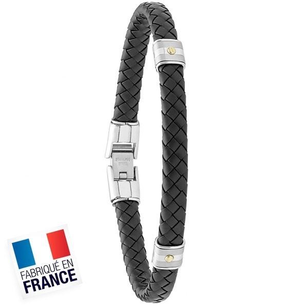 Bracelet Jourdan Homme - Cuir synthétique Tressé Noir et Acier 21cm