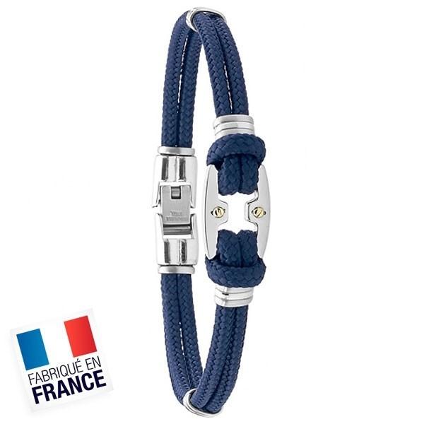 Bracelet Jourdan Homme - Cuir synthétique Tressé Bleu et Acier 21cm