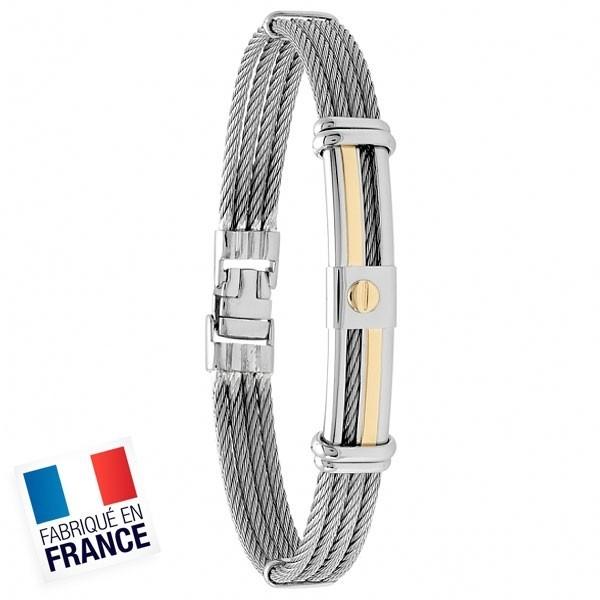Bracelet Jourdan Homme - Acier et or gris