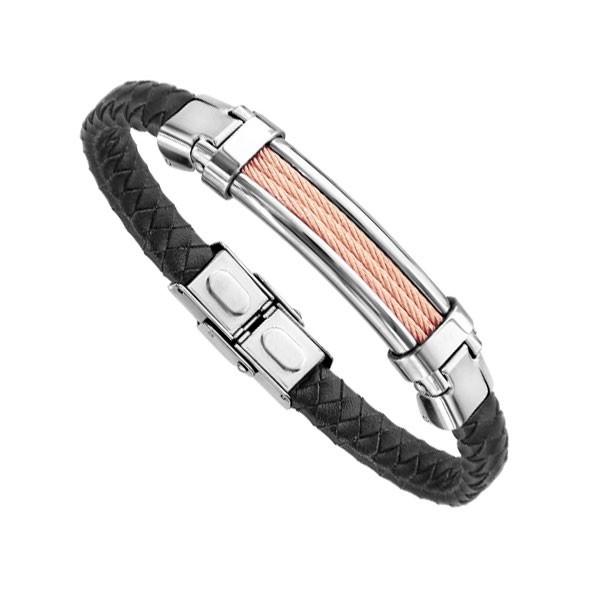 Bracelet Acier Homme - Cuir Bovin Noir Tressé & Acier