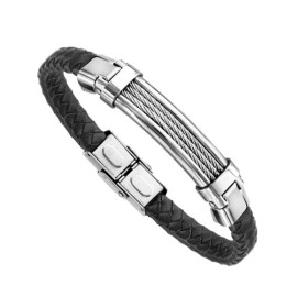 Bracelet Acier Homme - Cuir Bovin Noir Tressé & Acier Câble gris