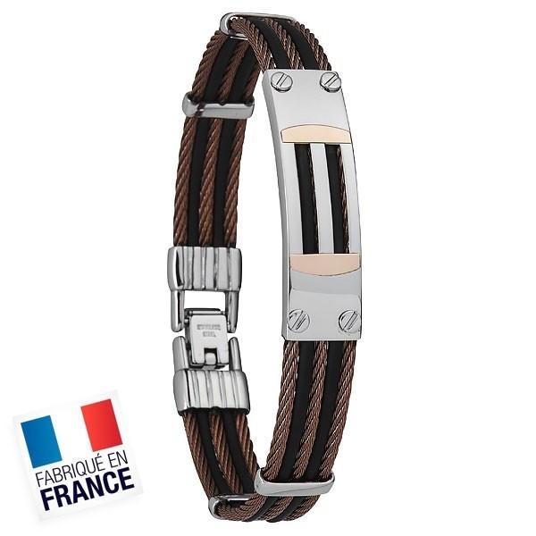 Bracelet Jourdan Homme - Acier et cordon noir et marron
