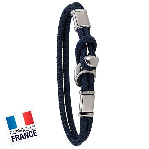 Bracelet Jourdan Homme - Acier et cordon bleu